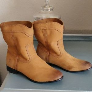 Frye Cara distressed leather boots